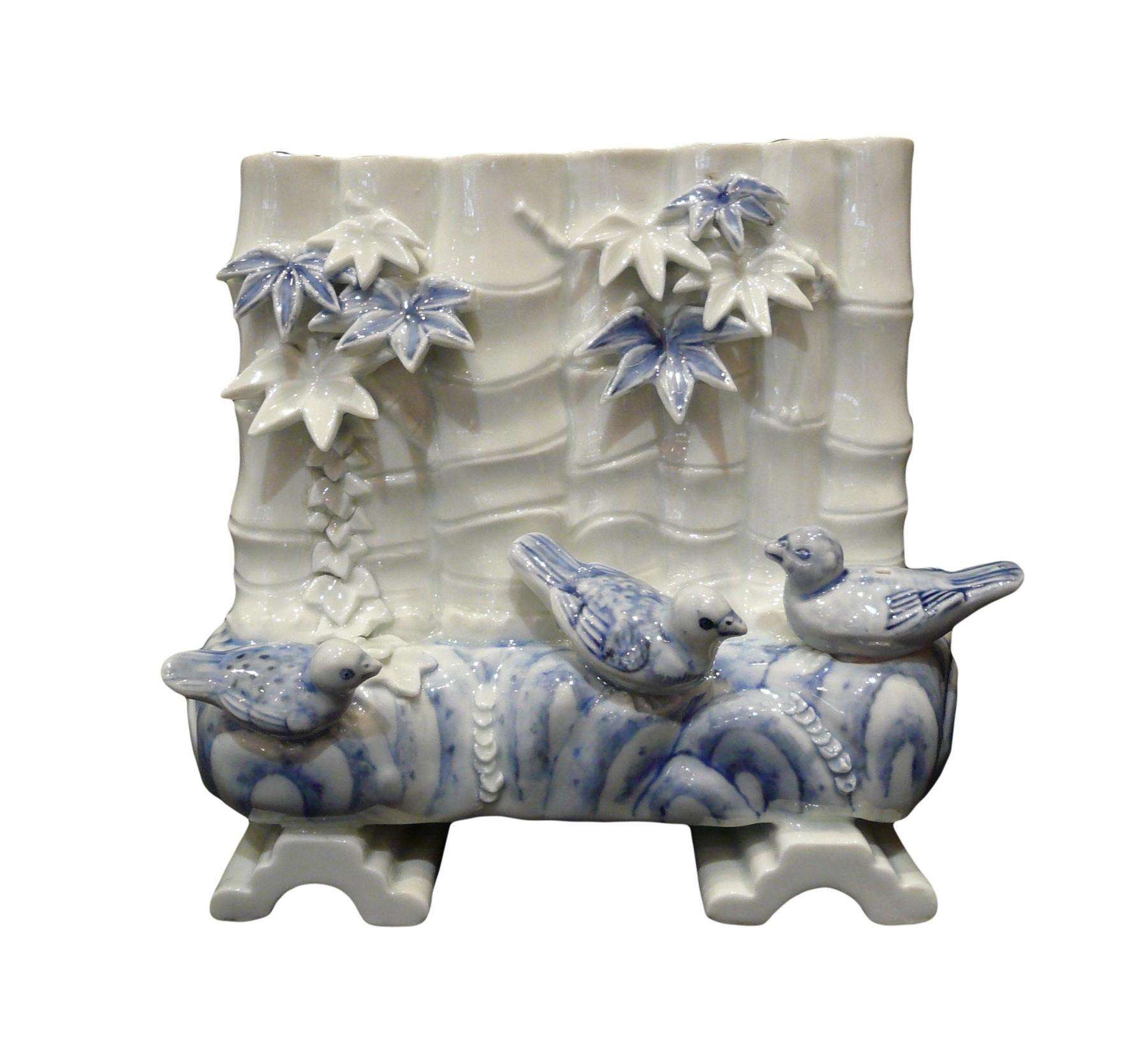 Rare Vase Hirado Bleu Blanc En Forme De Tiges De Bambou Xixe