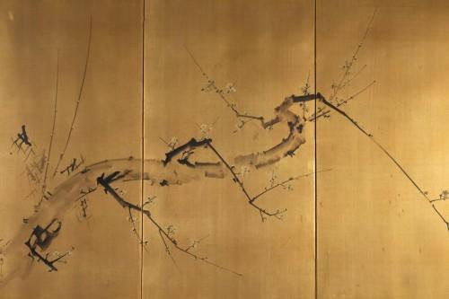 Paravent à 3 panneaux au décor d'une branche de prunier
