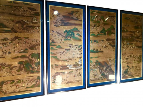 Set of 4 Paintings of Japanese Scene of Life - Edo Period 18th century