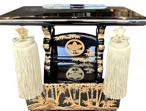 Japanese Lectern in Black and Gold Lacquer