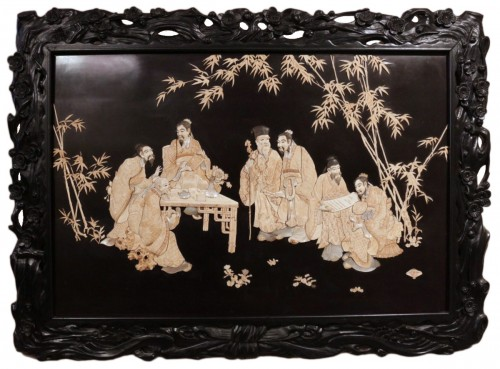 Large panel of 7 Chinese literates - Shishifukujins