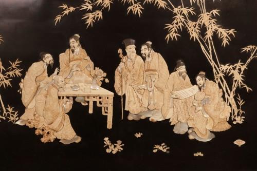 Asian Art & Antiques  - Large panel of 7 Chinese literates - Shishifukujins