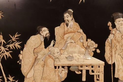 19th century - Large panel of 7 Chinese literates - Shishifukujins