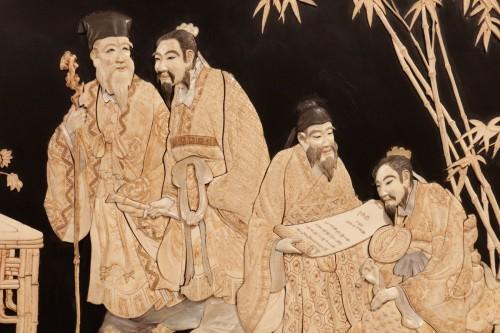 Large panel of 7 Chinese literates - Shishifukujins -