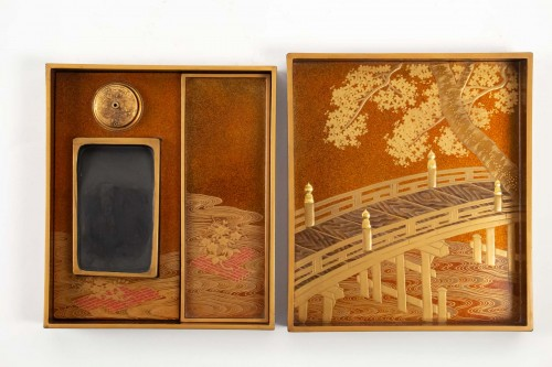 "Rare set ""en suite"" in Japan lacquer of a Budai + Ryoshi bako + Suzuri bako -"