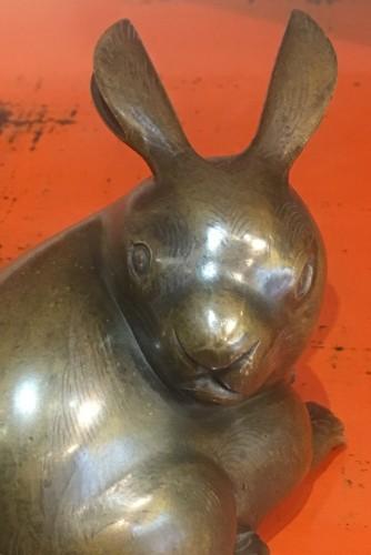 Asian Art & Antiques  - A Japanese Bronze of a Rabbit
