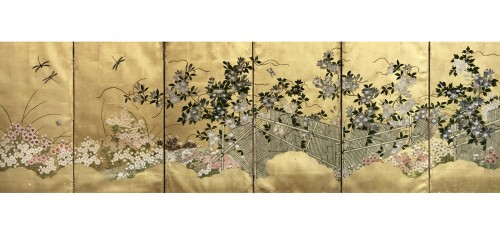 Japanese 6-Panel Screen of Floral Design Style Rimpa Shool