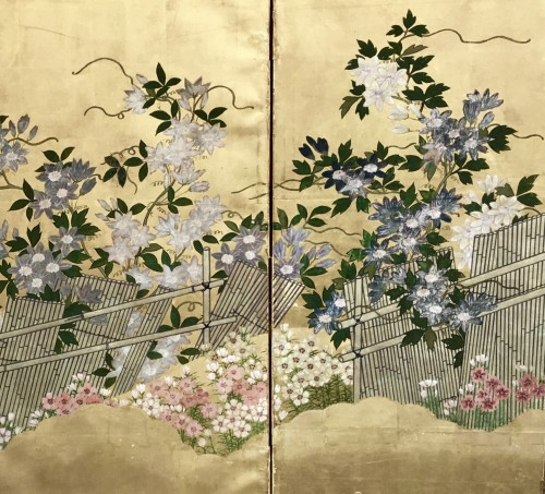 Japanese 6-Panel Screen of Floral Design Style Rimpa Shool - Asian Art & Antiques Style