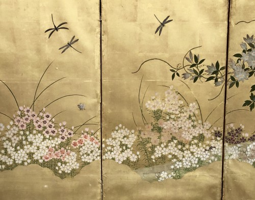 Asian Art & Antiques  - Japanese 6-Panel Screen of Floral Design Style Rimpa Shool