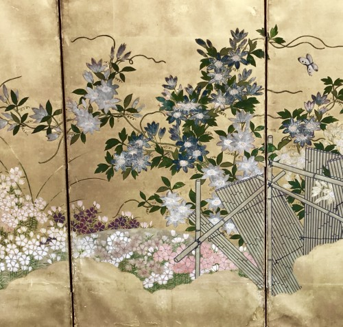 Japanese 6-Panel Screen of Floral Design Style Rimpa Shool -