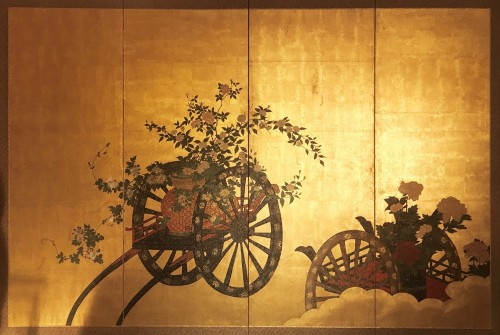 Japanese 4-Panel Screen of  2 Foral carts on a gold ground