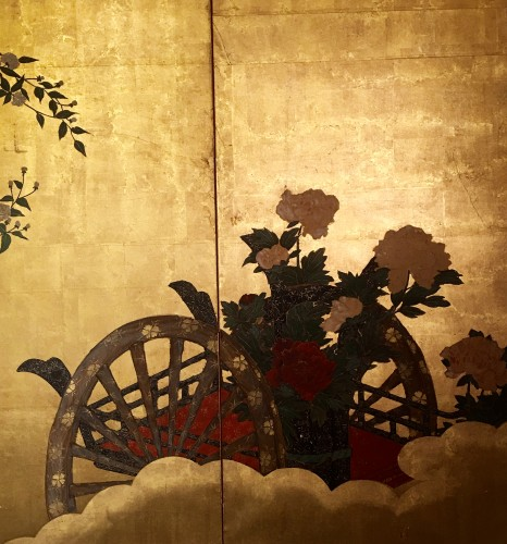 Japanese 4-Panel Screen of  2 Foral carts on a gold ground - Asian Art & Antiques Style