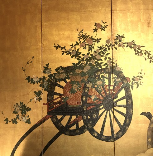 Japanese 4-Panel Screen of  2 Foral carts on a gold ground -