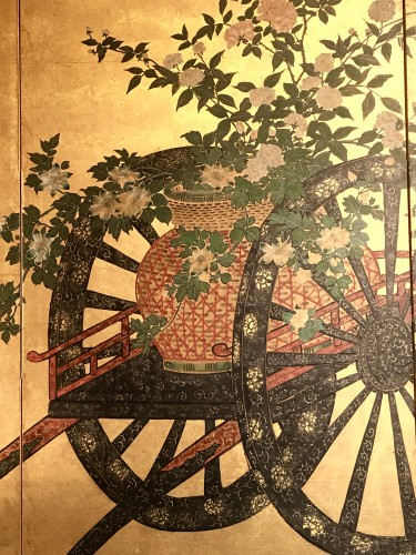 19th century - Japanese 4-Panel Screen of  2 Foral carts on a gold ground