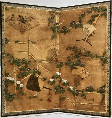 Japanese 2-Panel Screen of Fans Decoration - Asian Art & Antiques Style