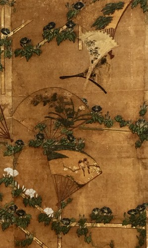 Asian Art & Antiques  - Japanese 2-Panel Screen of Fans Decoration