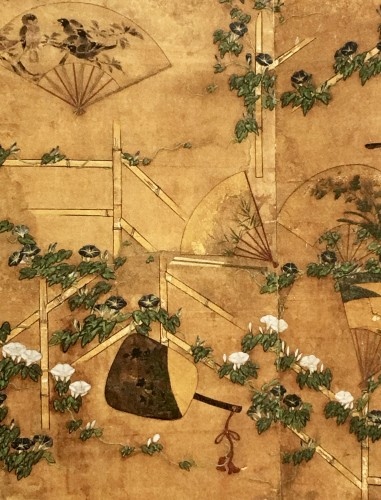 17th century - Japanese 2-Panel Screen of Fans Decoration
