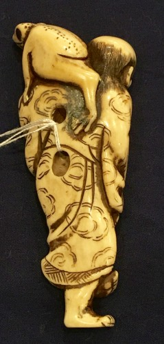 Asian Art & Antiques  - Gama Sennin Netsuke with a Toad on his Shoulder
