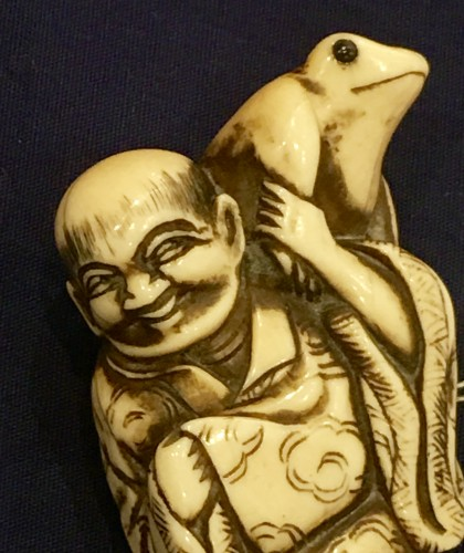 19th century - Gama Sennin Netsuke with a Toad on his Shoulder