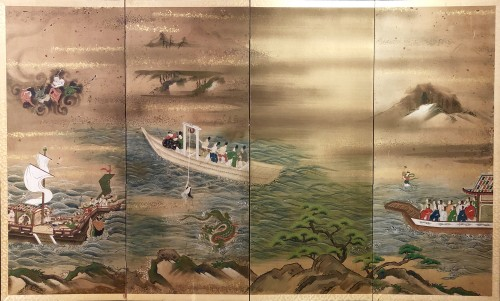 "Japanes 4-Panel Screen ""the Pearl fisherwoman"""