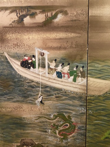 "Japanes 4-Panel Screen ""the Pearl fisherwoman"" - Asian Art & Antiques Style"