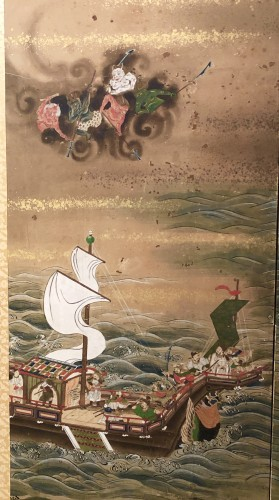 "Asian Art & Antiques  - Japanes 4-Panel Screen ""the Pearl fisherwoman"""