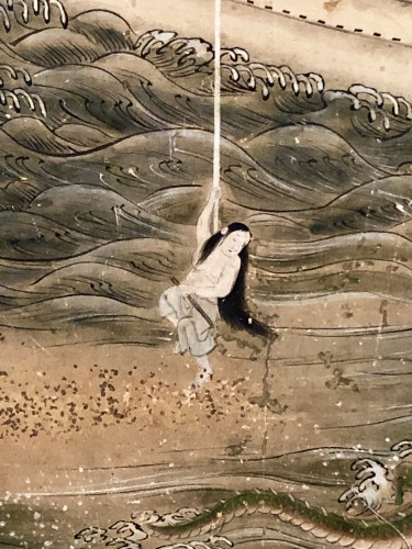 "19th century - Japanes 4-Panel Screen ""the Pearl fisherwoman"""