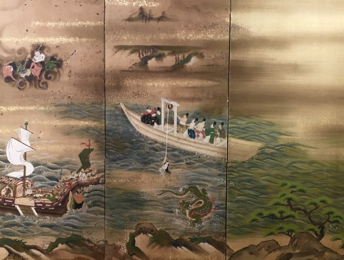 "Japanes 4-Panel Screen ""the Pearl fisherwoman"" -"