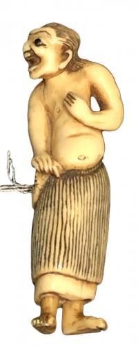 """Ivory Netsuke of o Fisherwoman """"Ama"""""""