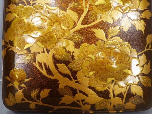 Lacquered Writing Box (Suzuri Bako) with Peonies Design - Asian Art & Antiques Style