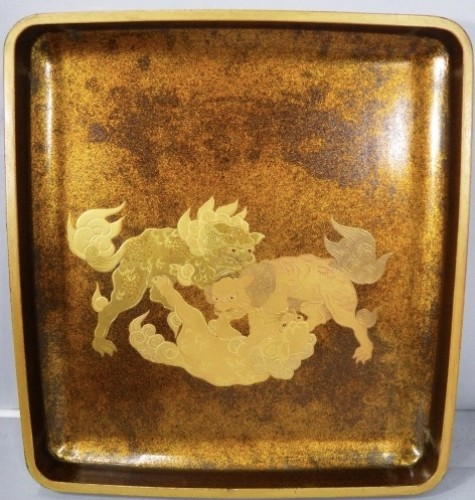 Asian Art & Antiques  - Lacquered Writing Box (Suzuri Bako) with Peonies Design