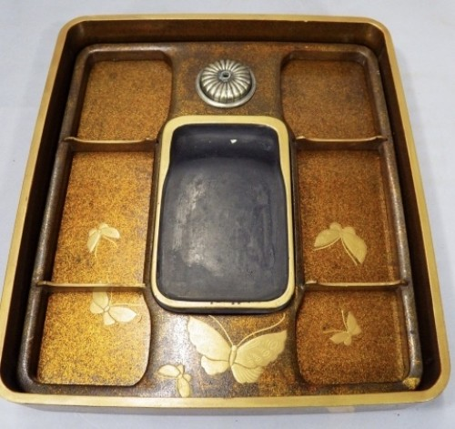 - Lacquered Writing Box (Suzuri Bako) with Peonies Design