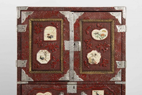 Asian Art & Antiques  - Japanese Cabinet in Carved Red Lacquer