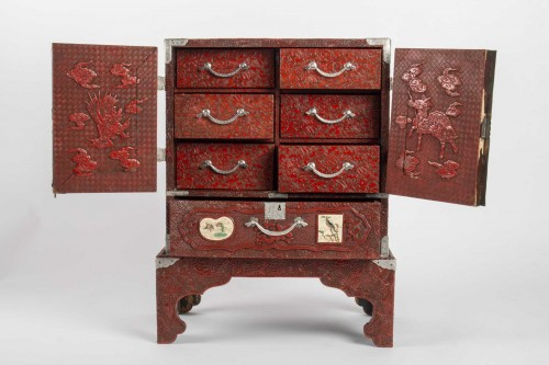- Japanese Cabinet in Carved Red Lacquer