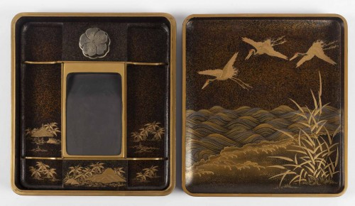 Asian Art & Antiques  - Rare Japanese set of a writing box and its document box (suzuri + bunko)