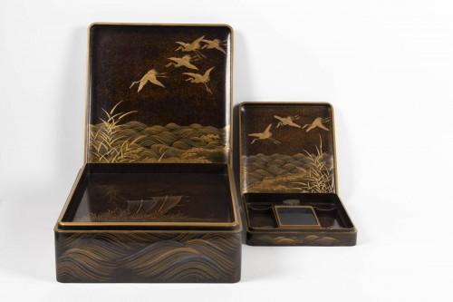 - Rare Japanese set of a writing box and its document box (suzuri + bunko)