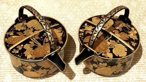 - Rare Pair of Lacquered Iron Matching Sake Ewers, japan cirac 1920