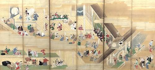 Paravent japonais à 6 panneaux - Scène de théatre à Ueno