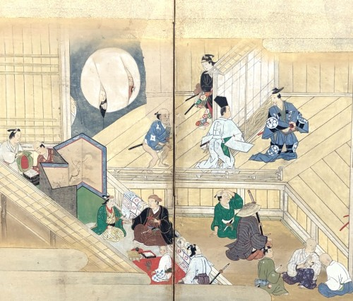 Paravent japonais à 6 panneaux - Scène de théatre à Ueno - Asian Art & Antiques Style