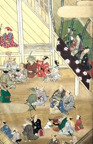 Asian Art & Antiques  - Paravent japonais à 6 panneaux - Scène de théatre à Ueno