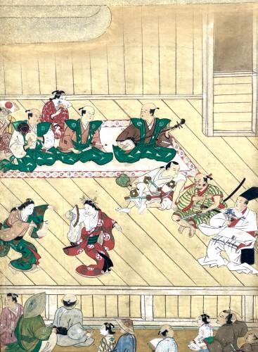 Paravent japonais à 6 panneaux - Scène de théatre à Ueno -