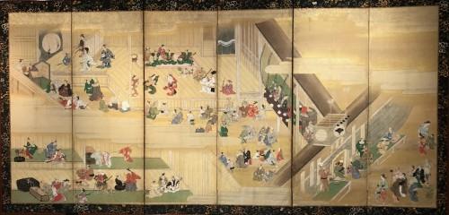 19th century - Paravent japonais à 6 panneaux - Scène de théatre à Ueno