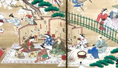 Japanese 6-Panel Screen - Picnic in Ueno - Asian Art & Antiques Style