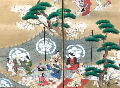 Asian Art & Antiques  - Japanese 6-Panel Screen - Picnic in Ueno