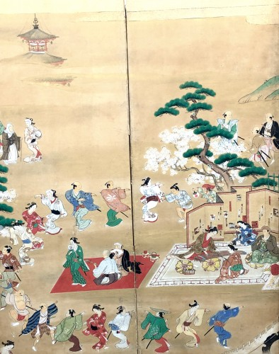 19th century - Japanese 6-Panel Screen - Picnic in Ueno