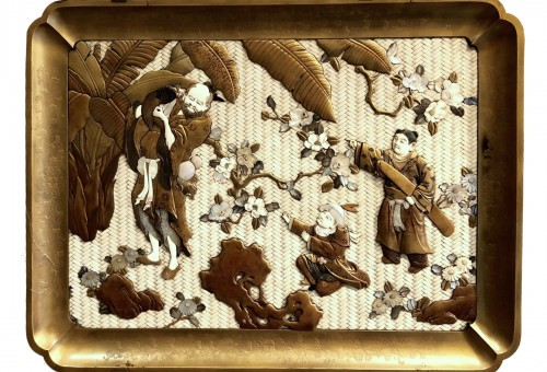Large Lacquered Panel. Ivory, Mother-of-Pearl, Tortoiseshell and Horn