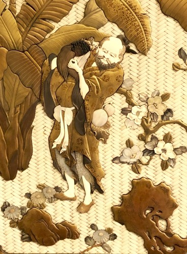 Asian Art & Antiques  - Large Lacquered Panel. Ivory, Mother-of-Pearl, Tortoiseshell and Horn
