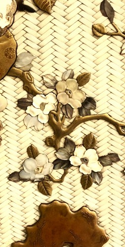 Large Lacquered Panel. Ivory, Mother-of-Pearl, Tortoiseshell and Horn -