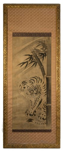 Japanese Kakemono of a Tiger under a Bamboo