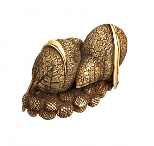 Ivory Netsuke of 2 quails on Millet Ears - Okatomo